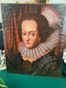 Antikes olbild Gemälde Olgemalde Dame ohne Rahmen Portrait 60x45 cm1800-1900