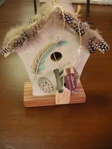 Roman Decorative Paper Birdhouse with Feather Trim - Very Good Cond SEE PHOTOS