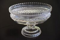 Vintage, pressed glass oval bowl with foot and pedestal