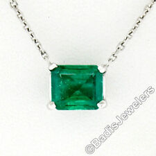 14k ORO BLANCO 0.81 Quilates rectangular Step corte COLOMBIA EMERALD