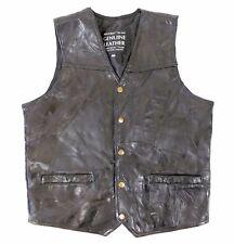 Men's Medium Black Leather Vest Maxam Top Grain Italian Lambskin Western Biker