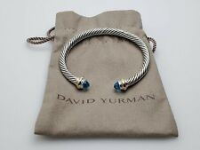 David Yurman Cable Classics Bracelet with Blue Topaz &14k Yellow Gold 5mm Small