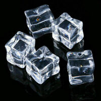 20Pcs/set Fake Artificial Acrylic Ice Cubes Crystal Clear Square Blocks Reusable