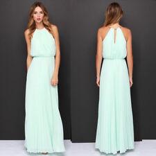 UK Womens Formal Long Chiffon Prom Evening Bridesmaid Wedding Maxi Dress A020