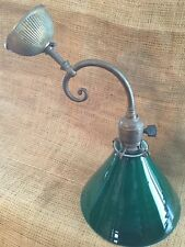 OLD VTG ANTIQUE BRASS SCROLLED ARM WEBER SOCKET GREEN GLASS SHADE LIGHT FIXTURE