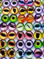 20 EYE GLASS CABOCHONS 10MM-CAT/DRAGON-FLATBACK/JEWELLERY/GEMS-EYES CABOCHON