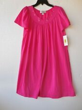 Miss Elaine Raspberry Pink Embroidered Nylon Short Nightgown S NWT