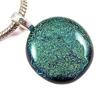 "DICHROIC Fused Glass PENDANT Green Emerald Verdigris Mint 1"" 25mm Silver Plated"