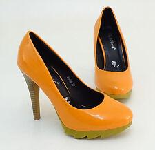 Pumps Plateau Stiletto Kunstleder Lack orange Gr.36