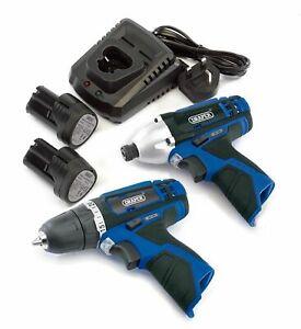 Draper 10.8 Volt Interchange Twin Pack Cordless Impact Driver & Drill Kit 20849