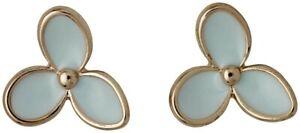 PILGRIM Earrings Menthol Flowers Gold Plated Danish Design Studs Mint Enamel
