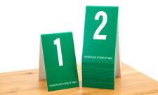 Table Numbers 1-20- Green w/ white number, Tent style, Free shipping