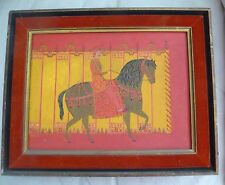 Orig Oil Painting Middle Eastern Stylized Horse Rider Medieval Renaissance VTG