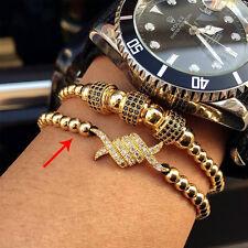 Luxury Anil Arjandas Macrame Bracelets Gold Plated Micro Pave CZ Stoppers Men A6