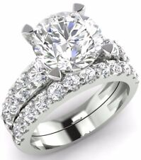 3.58 ct Brilliant Cut Diamond Engagement Ring Wedding Band Solid 14kt White Gold