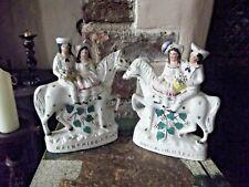 Antiguo Par De Victoriano Staffordshire figuras van a mercado & volviendo a casa