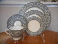 Wedgwood Grey Moselle bone china FIVE piece place setting