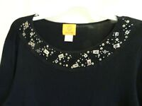 RUBY RD. LADIES SIZE LARGE  BLACK 3/4. SLEEVE KNIT TOP-BEADED NECKLINE-EUC