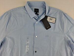 NEW Armani Exchange Slim Men XL Blue Luxury Dress Shirt Snap Button Long Sleeve