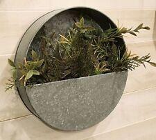 "Galvanize Metal Round Decorative Wall Pocket Planter approx 12"" Dia x 3"" Deep"