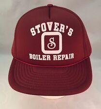 Men's Vintage Stover's Boiler Repair Trucker Hat Ball Cap Maroon Snapback