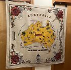 """Vintage Linen Tapestry Wall Hanging of Australia Landmarks, Tablecloth 48"""" x 50"""""""