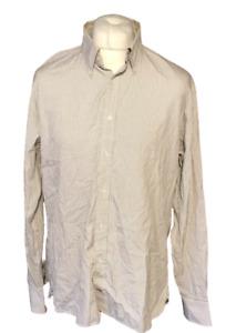 Tommy Hilfiger 80s 2 Ply Men's Shirt White Blue Check L/S XL 100% Cotton Marks