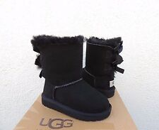UGG BLACK BAILEY BOW SUEDE/ SHEEPSKIN BOOTS, TODDLER GIRL US 7/ EUR 23.5  ~NEW