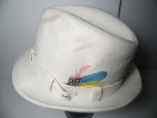 Vintage RESISTOL Self-Conforming WHITE FEDORA TRILBY Feathers HAT CAP Size 7 1/8