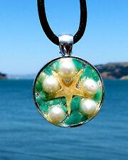 Mini Starfish Asteroidea Energy Pendant with Pearls & Amazonite. Silver Bezel.