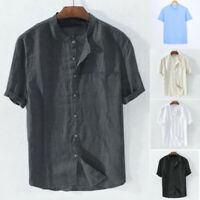 Men's Baggy Cotton Linen Solid Color Tee Short Sleeve Retro T Shirts Tops Blouse