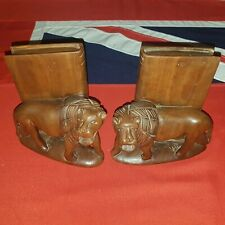 Vintage Pair of Carved Wooden Lions Bookends Victoriana Steampunk Library Books