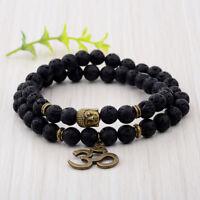 Fashion 8MM Natural Lava Stone Buddha Head Women Men Bracelets Charm Jewelry