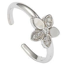 .925 Sterling Silver CZ Flower Toe Ring
