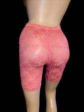 30 32 L xl Sheer Rose Pink Silky Nylon Spandex Lace Long Leg Panty Girdle Shaper