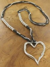 """Black Antique Silver Multi Strand abstract Heart Long Lagenlook Necklace 36 .5"""""""