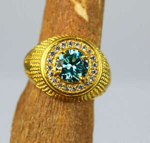 4.11 Ct Diamond Solitaire Gold Finish Ring Ideal Gift For Husband