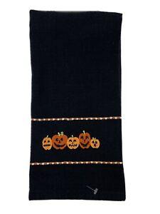 D11 Home Kitchen Black Hand Tea Towel Halloween Fall All Cotton Orange Pumpkins!