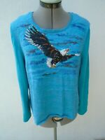 MICHAEL SIMON Embroidered Silk Blend Soaring Eagle Cardigan Sweater Size XL