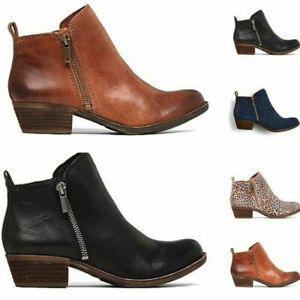 Womens Zip Leopard Pattern Ankle Boots Round Toe Low Chunky Heel Shoes Plus Size