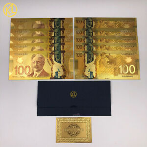 10 pcs Canadian 100 dollar money collection CAD 100 Canada Gold Banknote