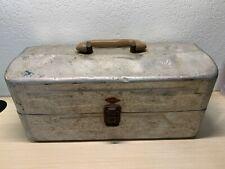 Vintage My Buddy Metal Tackle Box 2 Tier Gray 1950s/1960s Fishing Aluminum