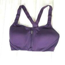 All in Motion 34C Sports Bra Zipper Front Racerback Purple Fitness Activewear
