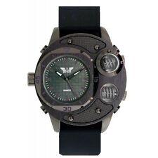 Reloj de cuarzo Correa De Silicona Negro para Hombre Softech pistola Cuadrante negro analógico de Moda