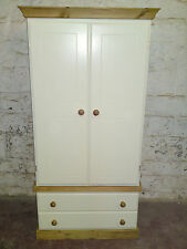 HANDMADE COUNTRY GENTS 2 DRAWER ROBE CREAM/OLD ANT NO FLAT PACKS
