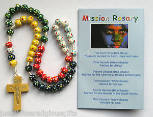 Wood Corded Missionary Rosary Coloured  Beads Religious Gift Childrens Rosaries