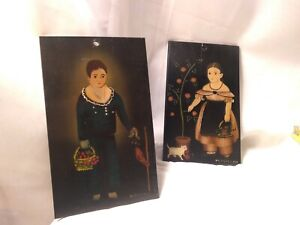 M.MORGAN 2 vintage plaques with original PAINTINGS Stencil boy and girl on wood
