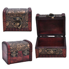 Wooden Vintage Treasure Chest Wood Jewellery Storage Box Case Organiser Ring HZH