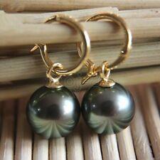 Natural 14mm Tahitian Black South Sea Shell Pearl Earring