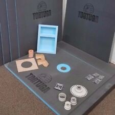 5x5 Waterproof Tile Ready Shower Kit - TORTUGA Backer Board Tray, Niche and all